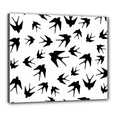 Vintage Birds Pattern Canvas 24  X 20  (stretched)