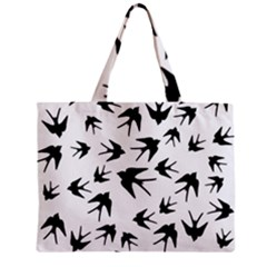 Vintage Birds Pattern Zipper Mini Tote Bag by Valentinaart