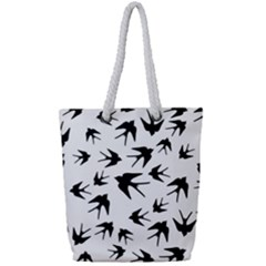 Vintage Birds Pattern Full Print Rope Handle Tote (small) by Valentinaart