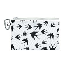Vintage Birds Pattern Canvas Cosmetic Bag (medium) by Valentinaart