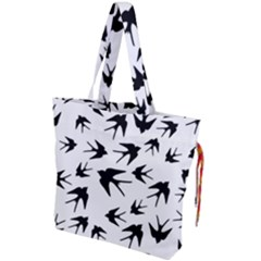 Vintage Birds Pattern Drawstring Tote Bag by Valentinaart