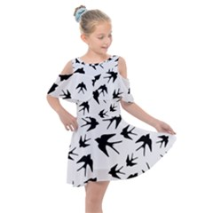 Vintage Birds Pattern Kids  Shoulder Cutout Chiffon Dress