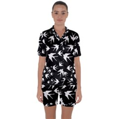 Birds Pattern Satin Short Sleeve Pyjamas Set by Valentinaart