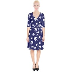 Birds Pattern Wrap Up Cocktail Dress