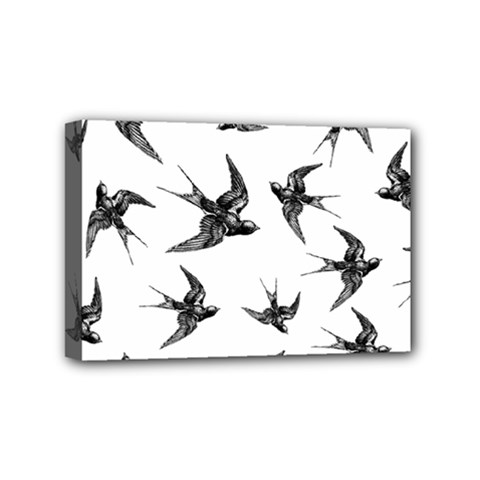 Birds Pattern Mini Canvas 6  X 4  (stretched)