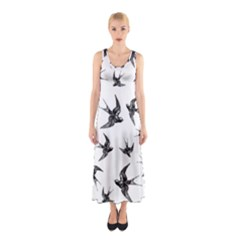 Birds Pattern Sleeveless Maxi Dress