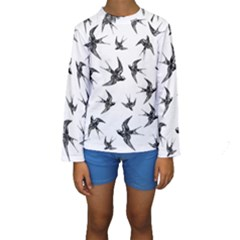 Birds Pattern Kids  Long Sleeve Swimwear