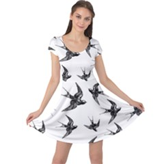 Birds Pattern Cap Sleeve Dress
