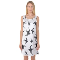 Birds Pattern Sleeveless Satin Nightdress