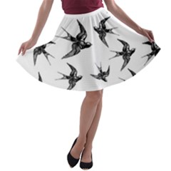 Birds Pattern A Line Skater Skirt