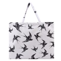 Birds Pattern Zipper Large Tote Bag