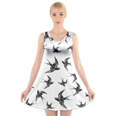 Birds Pattern V Neck Sleeveless Dress