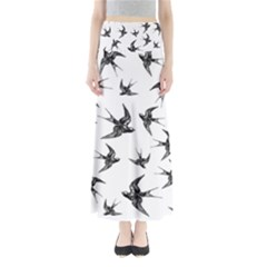 Birds Pattern Full Length Maxi Skirt