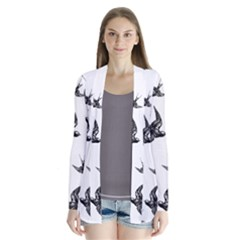 Birds Pattern Drape Collar Cardigan