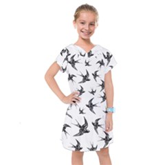 Birds Pattern Kids  Drop Waist Dress