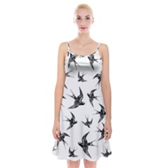 Birds Pattern Spaghetti Strap Velvet Dress