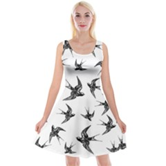 Birds Pattern Reversible Velvet Sleeveless Dress