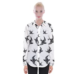 Birds Pattern Womens Long Sleeve Shirt
