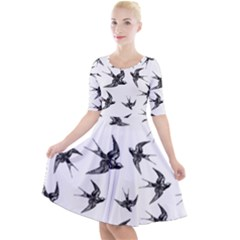 Birds Pattern Quarter Sleeve A Line Dress