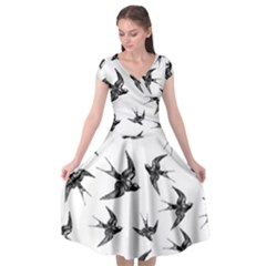 Birds Pattern Cap Sleeve Wrap Front Dress