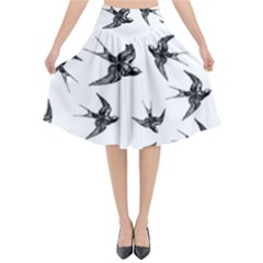 Birds Pattern Flared Midi Skirt