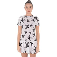 Birds Pattern Drop Hem Mini Chiffon Dress