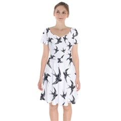 Birds Pattern Short Sleeve Bardot Dress