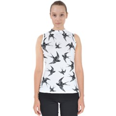 Birds Pattern Mock Neck Shell Top