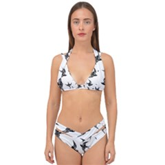 Birds Pattern Double Strap Halter Bikini Set