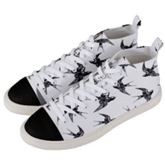 Birds Pattern Men s Mid Top Canvas Sneakers by Valentinaart