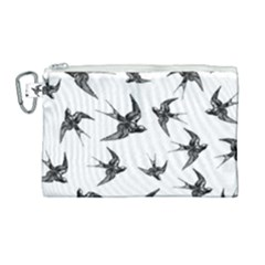 Birds Pattern Canvas Cosmetic Bag (large)