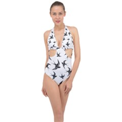Birds Pattern Halter Front Plunge Swimsuit