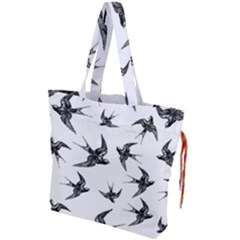 Birds Pattern Drawstring Tote Bag by Valentinaart