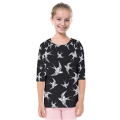 Birds Pattern Kids  Quarter Sleeve Raglan Tee