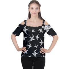 Birds Pattern Cutout Shoulder Tee