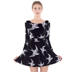 Birds Pattern Long Sleeve Velvet Skater Dress