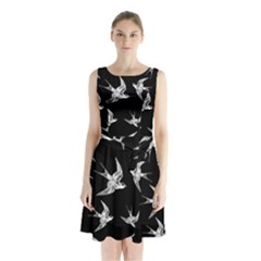 Birds Pattern Sleeveless Waist Tie Chiffon Dress