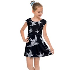 Birds Pattern Kids Cap Sleeve Dress by Valentinaart