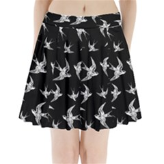 Birds Pattern Pleated Mini Skirt
