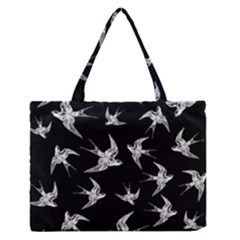 Birds Pattern Zipper Medium Tote Bag