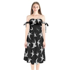 Birds Pattern Shoulder Tie Bardot Midi Dress
