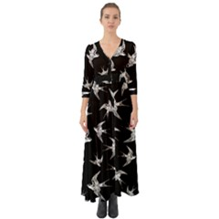 Birds Pattern Button Up Boho Maxi Dress