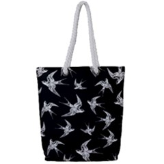 Birds Pattern Full Print Rope Handle Tote (small)