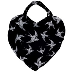 Birds Pattern Giant Heart Shaped Tote
