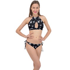Birds Pattern Cross Front Halter Bikini Set