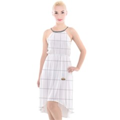 Pie Cooling On The Window Pane Pattern High Low Halter Chiffon Dress