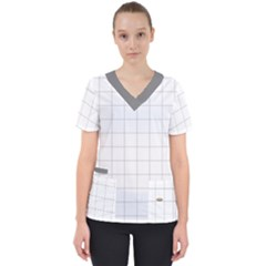 Pie Cooling On The Window Pane Pattern Women s V Neck Scrub Top
