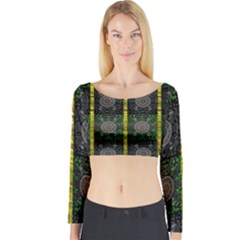 Stars And Flowers Decorative Long Sleeve Crop Top by pepitasart
