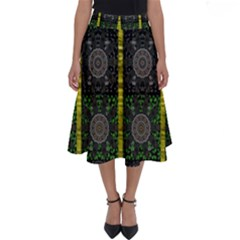 Stars And Flowers Decorative Perfect Length Midi Skirt