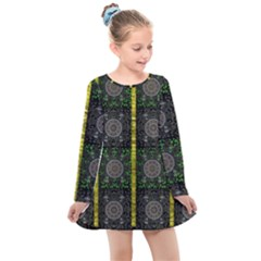 Stars And Flowers Decorative Kids  Long Sleeve Dress